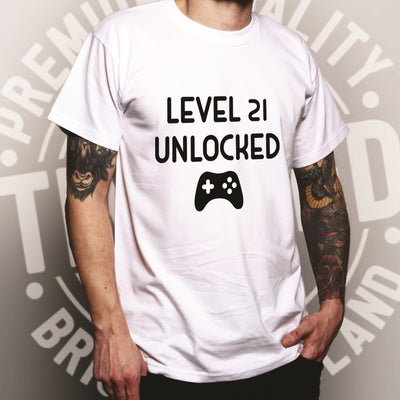Gamers 21st Birthday T Shirt Level 21 Unlocked Slogan