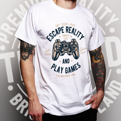 Mens Retro Gamer Art T Shirt Escape Reality And Play Games Tee