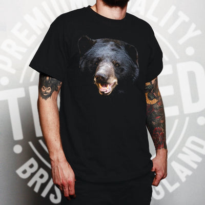 Bear Face T Shirt Powerful Black-Bear Head