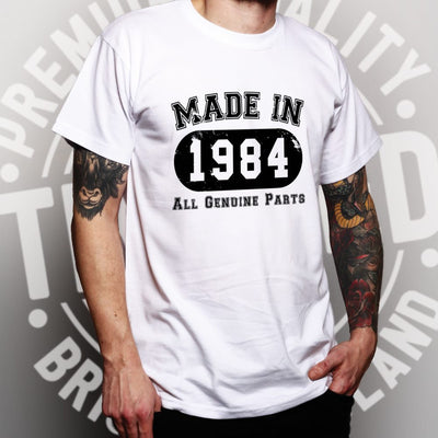 Birthday T Shirt Made in 1984 All Genuine Parts