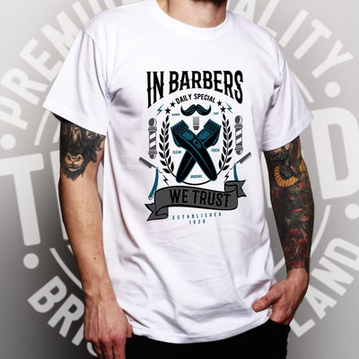 Novelty T Shirt In Barbers We Trust Logo