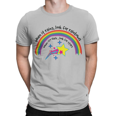 Mens Inspirational T Shirt When It Rains, Look For Rainbows Tee