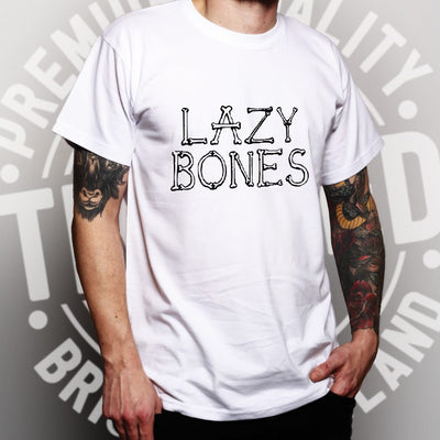 Novelty Halloween T Shirt Lazy Bones Joke Slogan