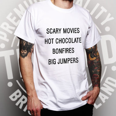 Mens Autumn T Shirt Scary Movies, Hot Chocolate, Bonfires Tee