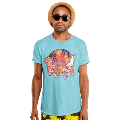 Mens Paradise Beach T Shirt Flamingo and Unicorn Relaxing Tee