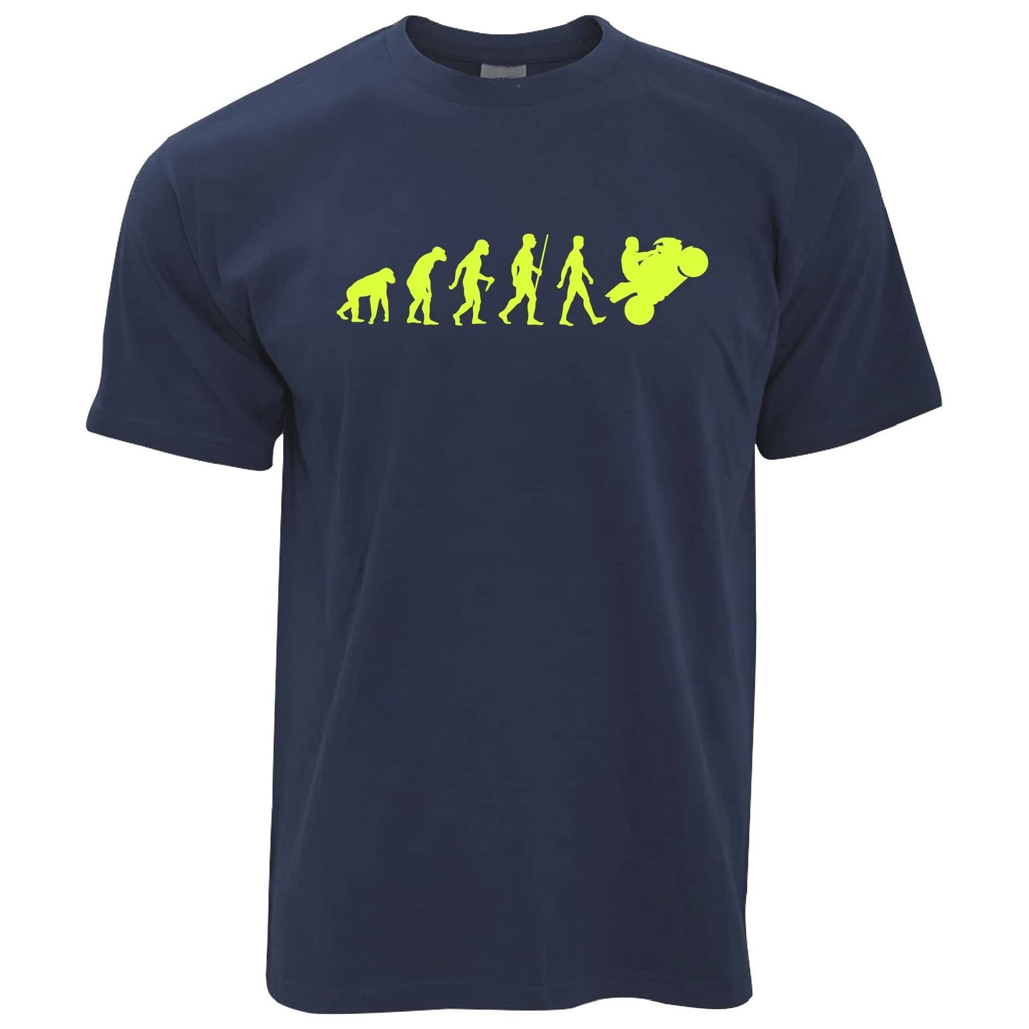 Biking T Shirt Evolution Of A Motorbike Neon Yellow