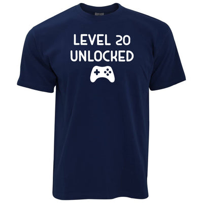 20th Birthday Gamer T Shirt Level 20 Unlocked Slogan