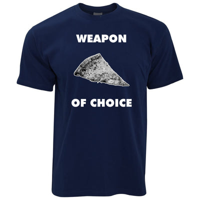 Novelty Food T Shirt Weapon of Choice Pizza Slice