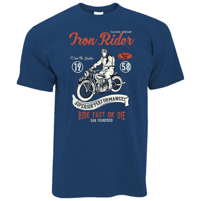 Retro Biker T Shirt Iron Rider, Ride Fast Or Die Art