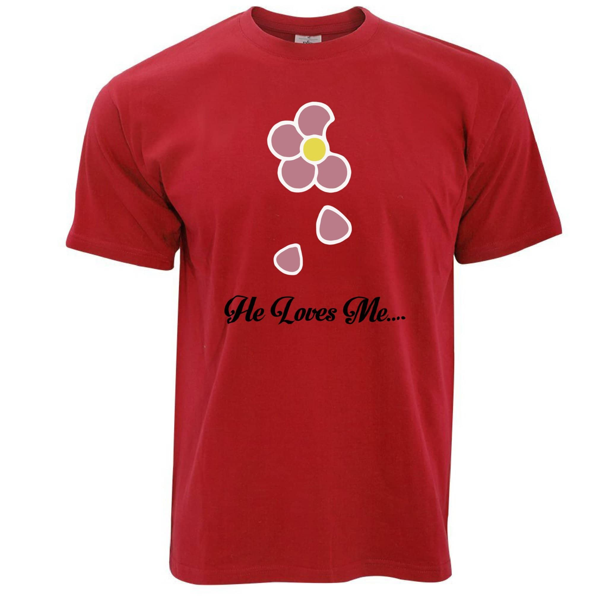 Cute Summer T Shirt He Loves Me... Flower Slogan