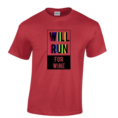 Novelty T Shirt Will Run For Wine Slogan