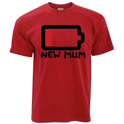 New Mum T Shirt Low Battery Remaining Novelty Joke