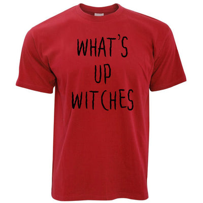 Novelty Halloween T Shirt What's Up Witches Pun