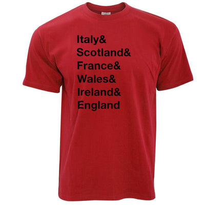The Six Nations T Shirt Italy, Scotland, France