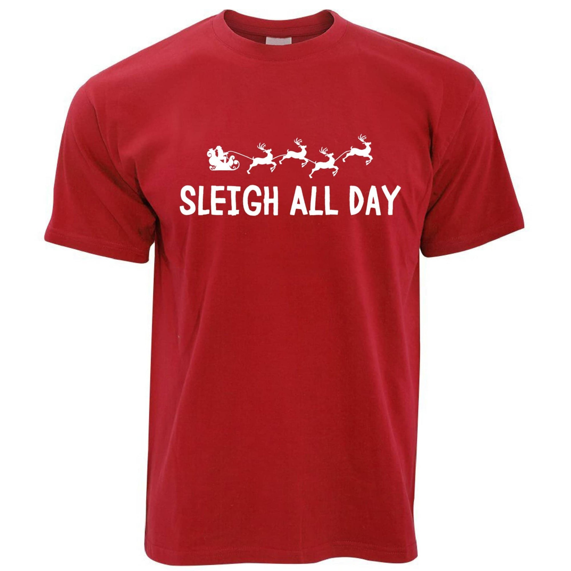 Joke Christmas T Shirt Sleigh Slay All Day Pun Novelty