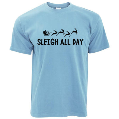 Funny Christmas T Shirt Sleigh Slay All Day Pun Joke