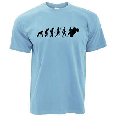 Evolution of a Biker Motorcyclist T-shirt in Light Blue