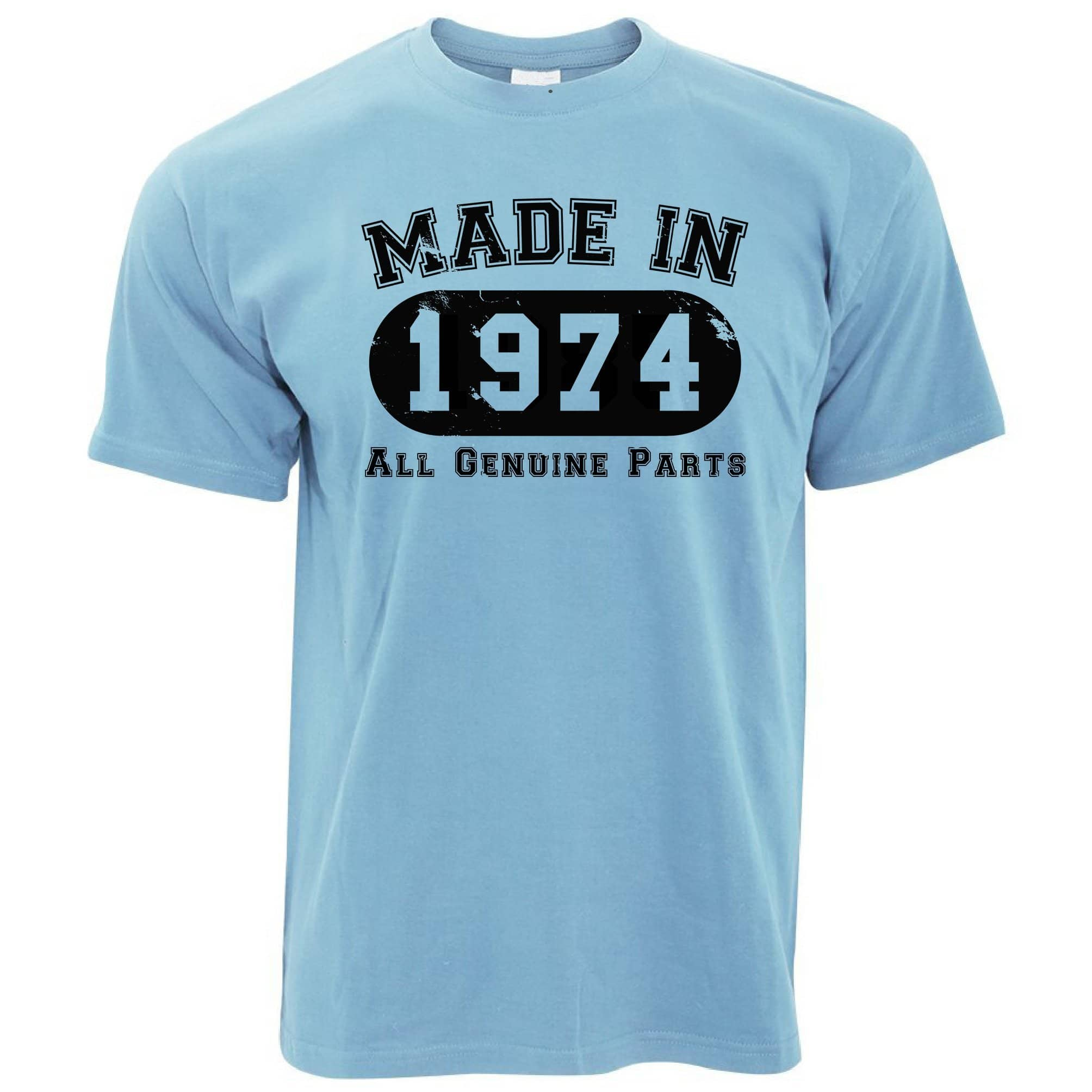 Birthday T Shirt Made in 1974 All Genuine Parts
