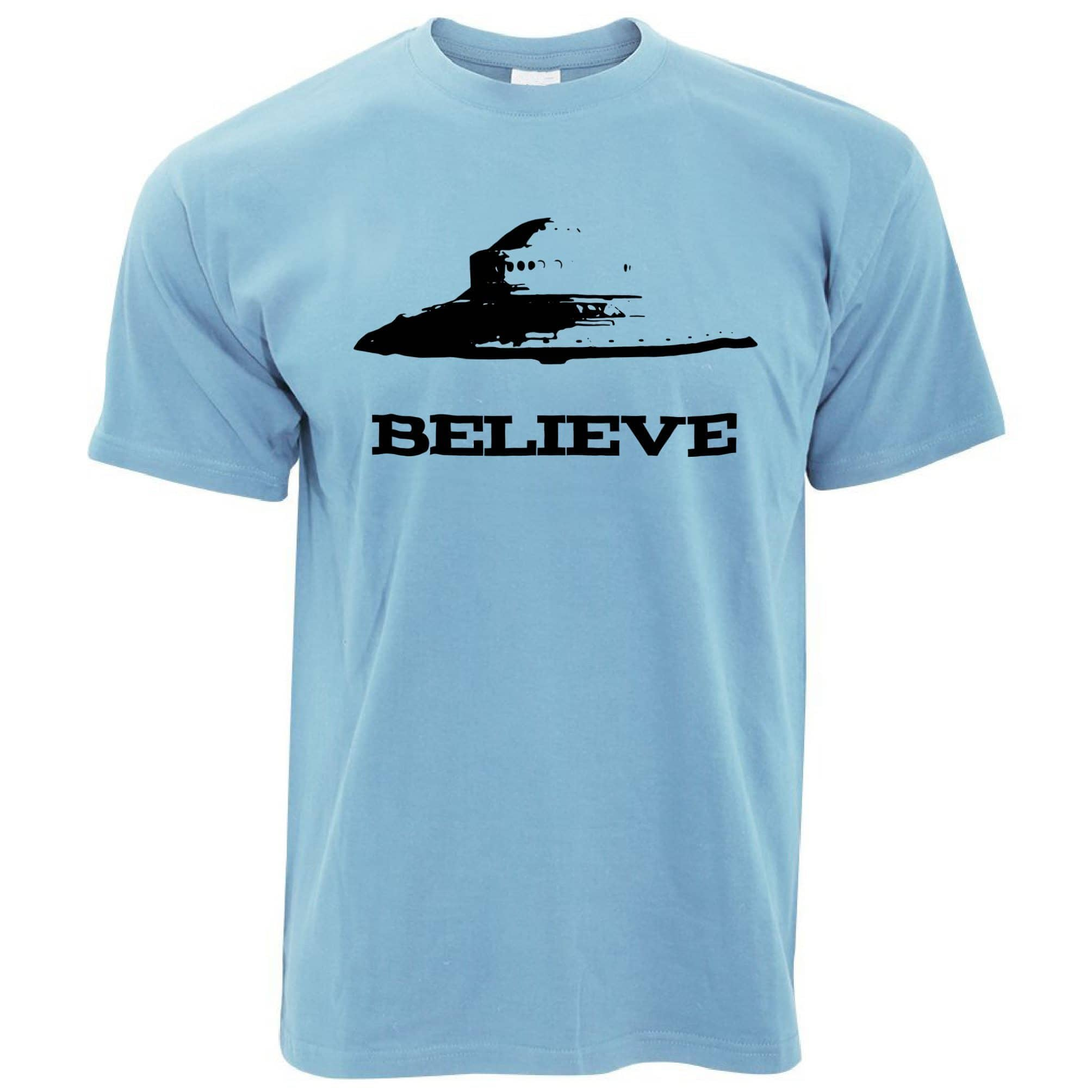 Alien T Shirt Believe in UFO Flying Saucers