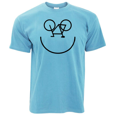 Mens Cycling T Shirt Bicycle Happy Smiling Face Logo Tee