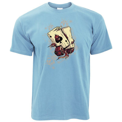 Gambling Art T Shirt Cards And Dice Graphic
