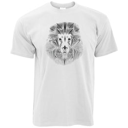 Wildlife Art T Shirt Geometric Lion Graphic
