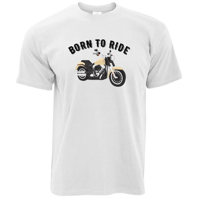 Bikers T-Shirt with Born to Ride Slogan in White
