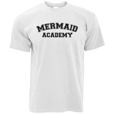 Novelty Mythical T Shirt Mermaid Academy Slogan