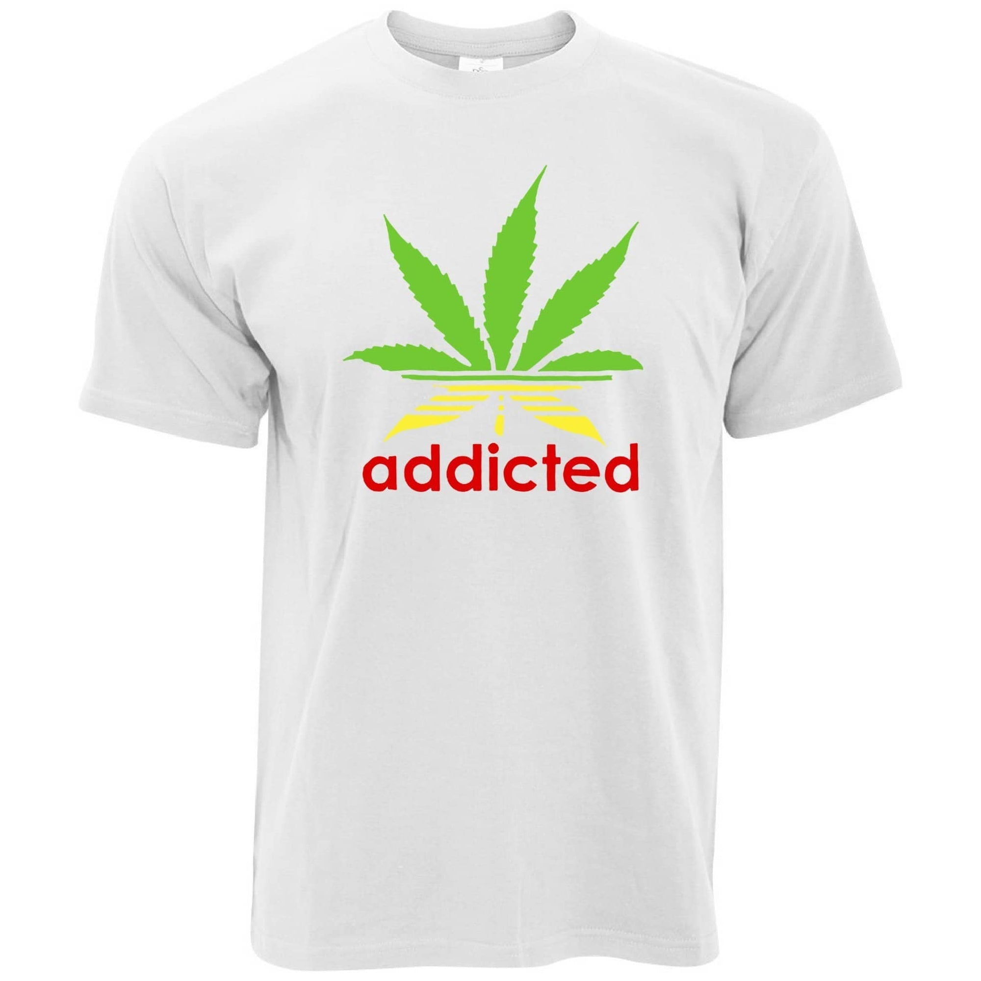 Addicted T Shirt Cannabis Leaf Parody