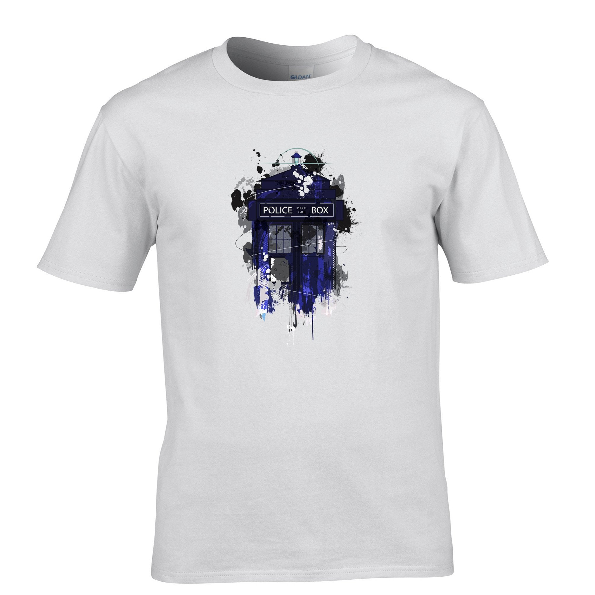 Mens Blue Police Box Sci-Fi T-Shirt Inspired By Dr Who Tardis