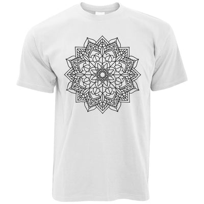 Adult Colouring T-Shirt Simple Mandala, Colour yourself (With Pens)