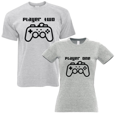 Couples Pack of 2 T-Shirts Cute Gamer Controllers His Hers Valentines