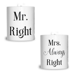 Couples Pack of 2 T-Shirts Sassy Mr Right Mrs Always Right Valentines