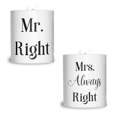 Couples Pack of 2 Mugs Sassy Mr Right Mrs Always Right Valentines