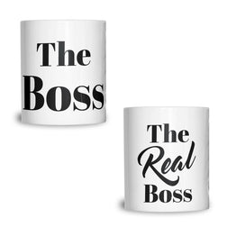 Couples Pack of 2 T-Shirts Sassy The Boss The Real Boss Valentines