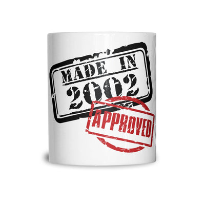 18th Birthday Mug Distressed Made in 2002 Approved Coffee Tea Cup