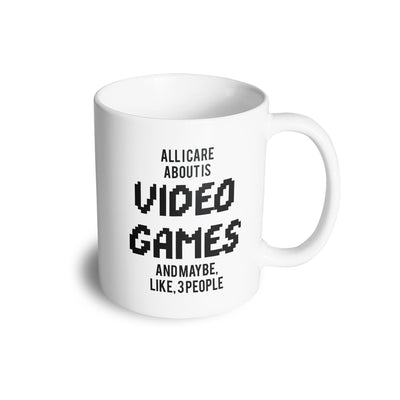 Joke Mug All I Care About Is Games And 3 People Coffee Tea Cup