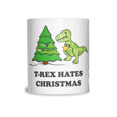 Novelty Xmas Mug T-Rex Hates Christmas Joke Coffee Tea Cup