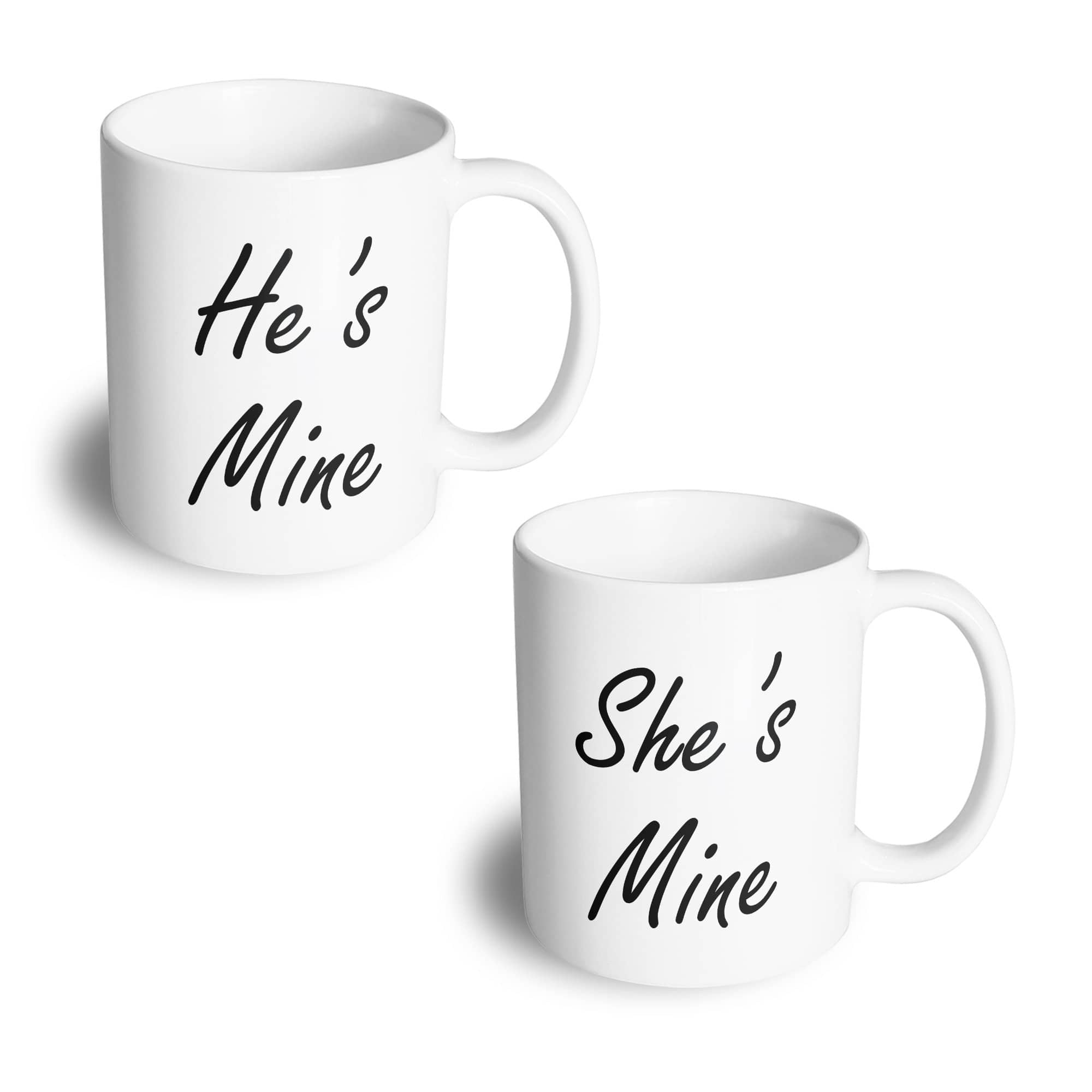 Couples Pack of 2 Mugs Cute He's Mine She's Mine His Hers Valentines