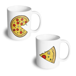 Couples Pack of 2 Mugs Cute Pizza Slice His Hers Valentines