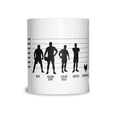 Funny Sports Tea Cup Mug Rugby Vs Football Chicken Lineup