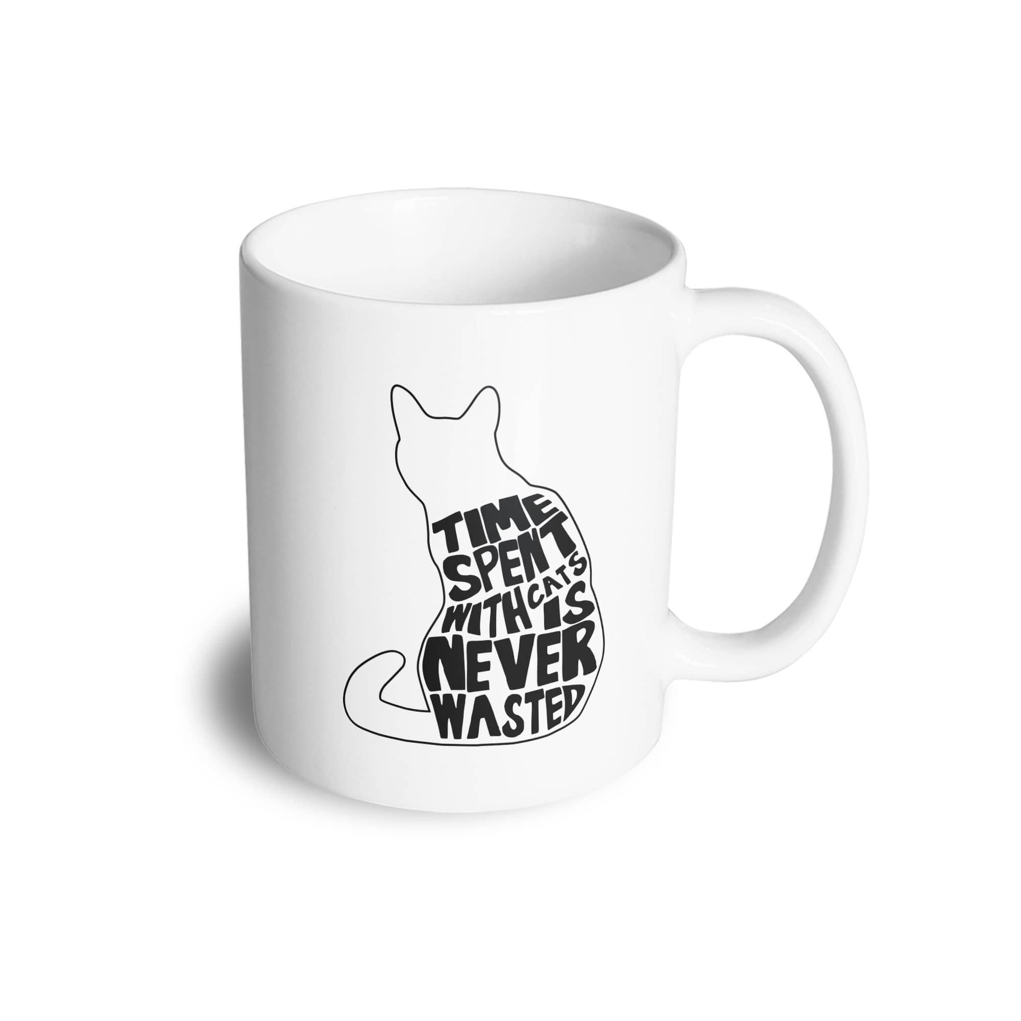 Cat Lover Mug Time Spent With Cats is Never Wasted Coffee Tea Cup