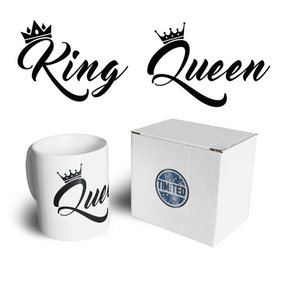 Couples Pack of 2 Mugs King Queen Cute Gold Metallic Urban Valentines