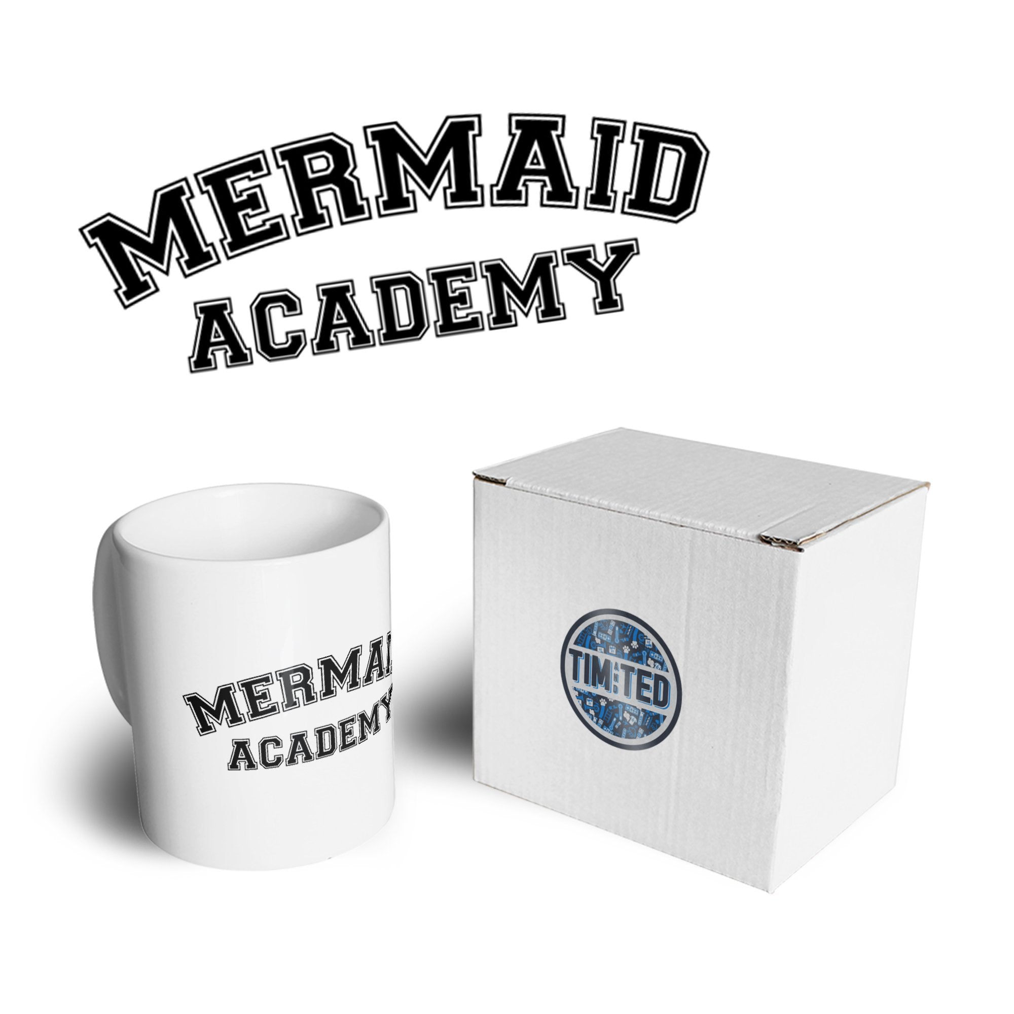 Novelty Mythical Mug Mermaid Academy Slogan Coffee Tea Cup