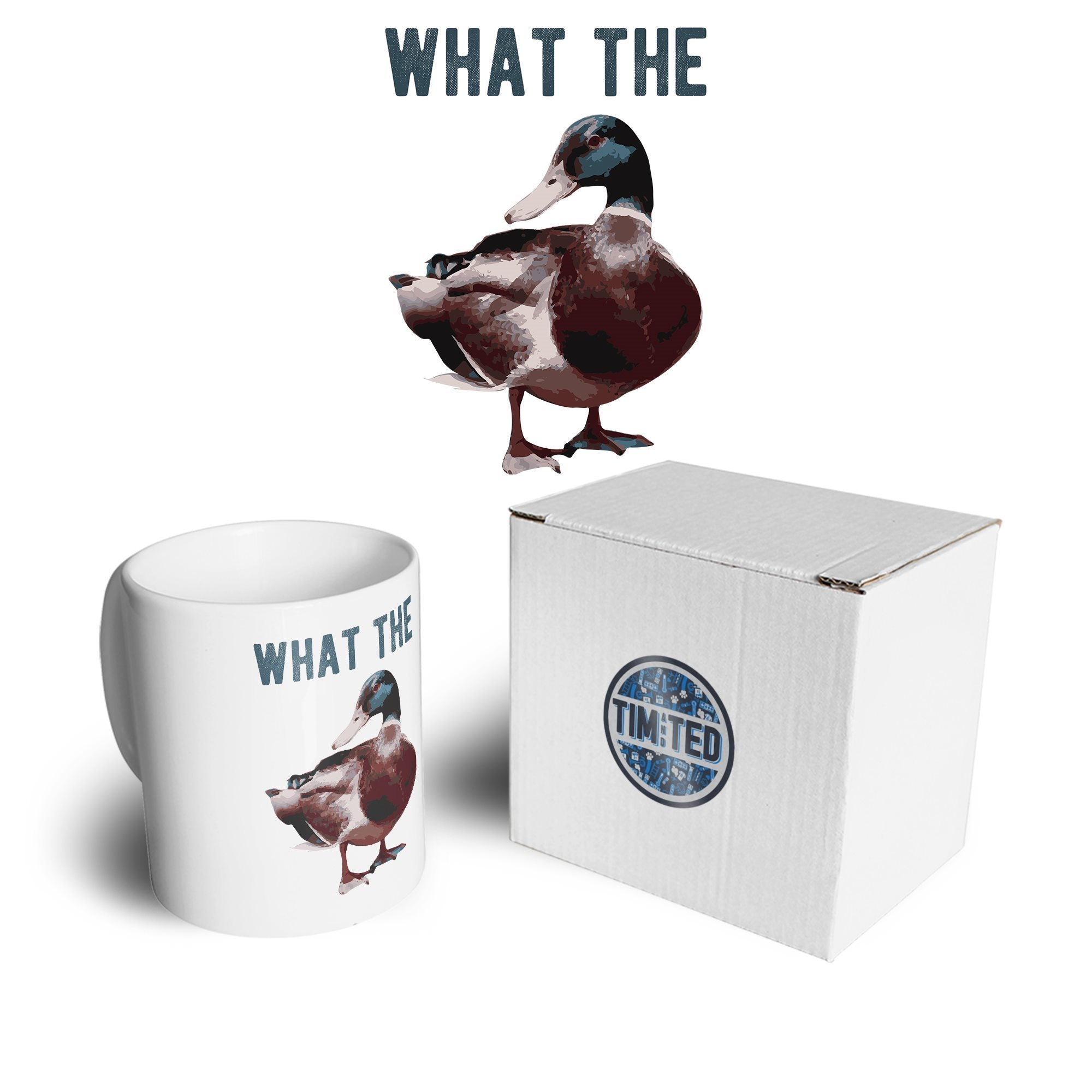 Novelty Pun Mug Funny What the Duck Joke Coffee Tea Cup