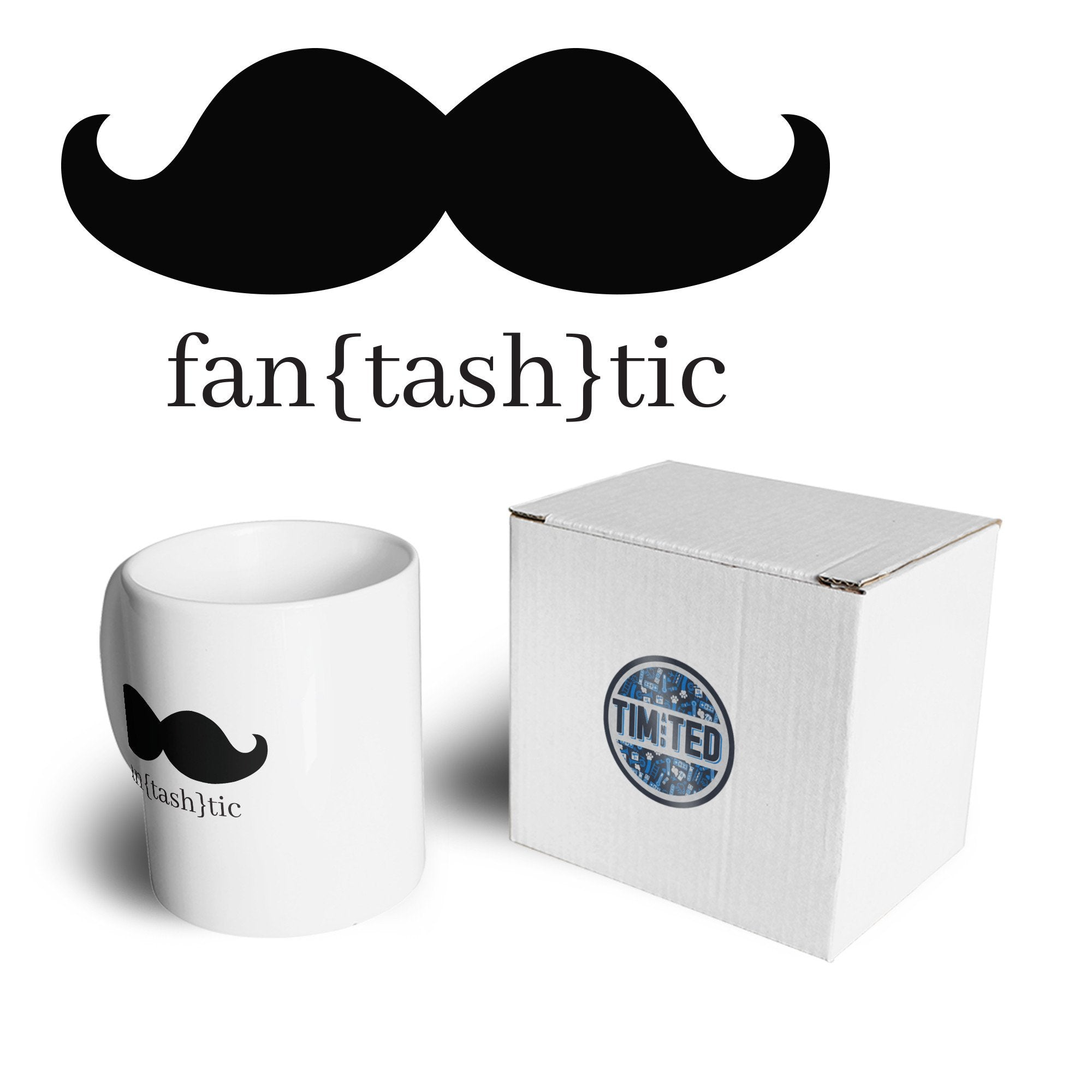 Novelty Mug Fantastic Moustache (Fantashtic) Pun Coffee Tea Cup