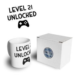 Gamers 21st Birthday Tea Cup Mug Level 21 Unlocked Slogan