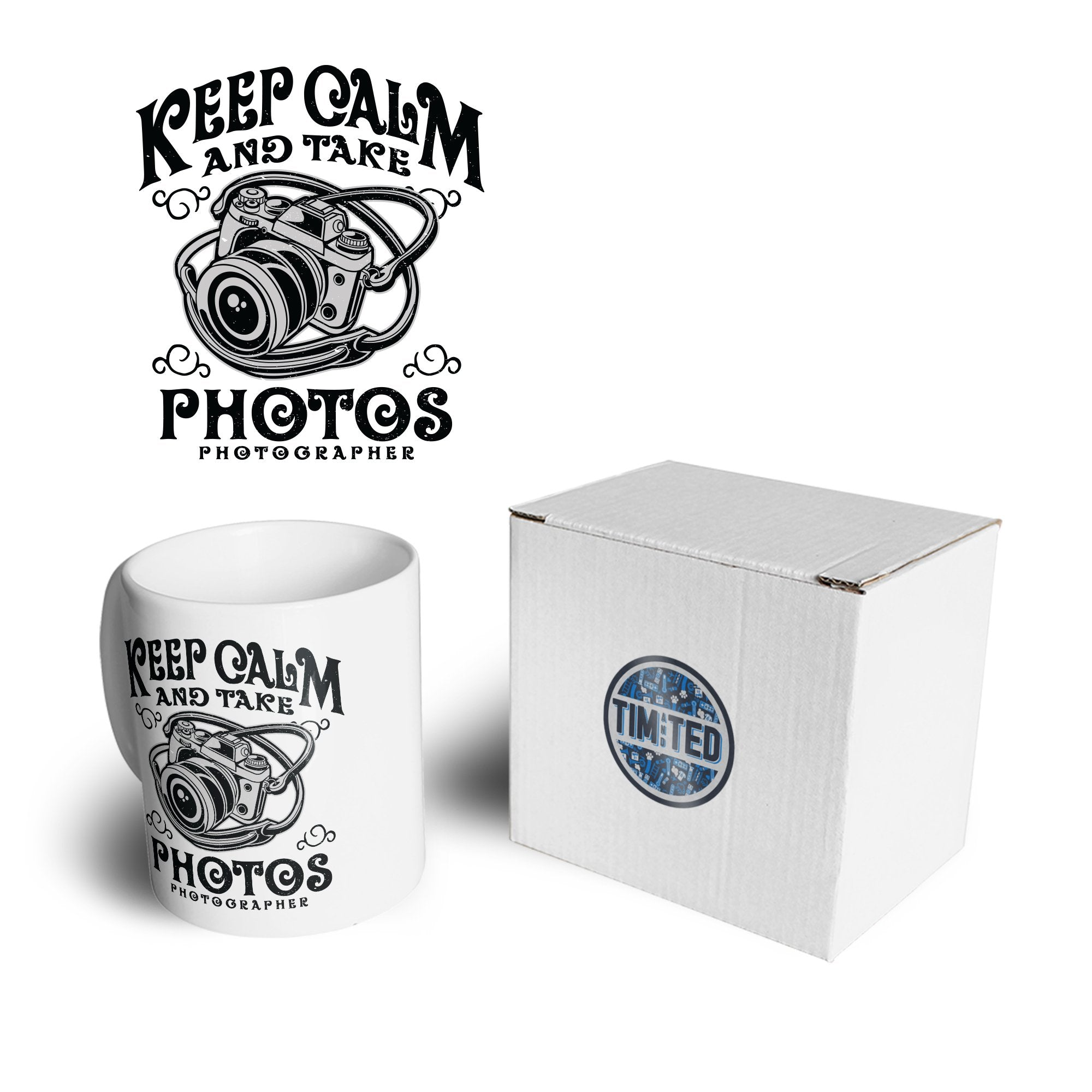 Retro Art Mug Keep Calm And Take Photos Slogan Coffee Tea Cup