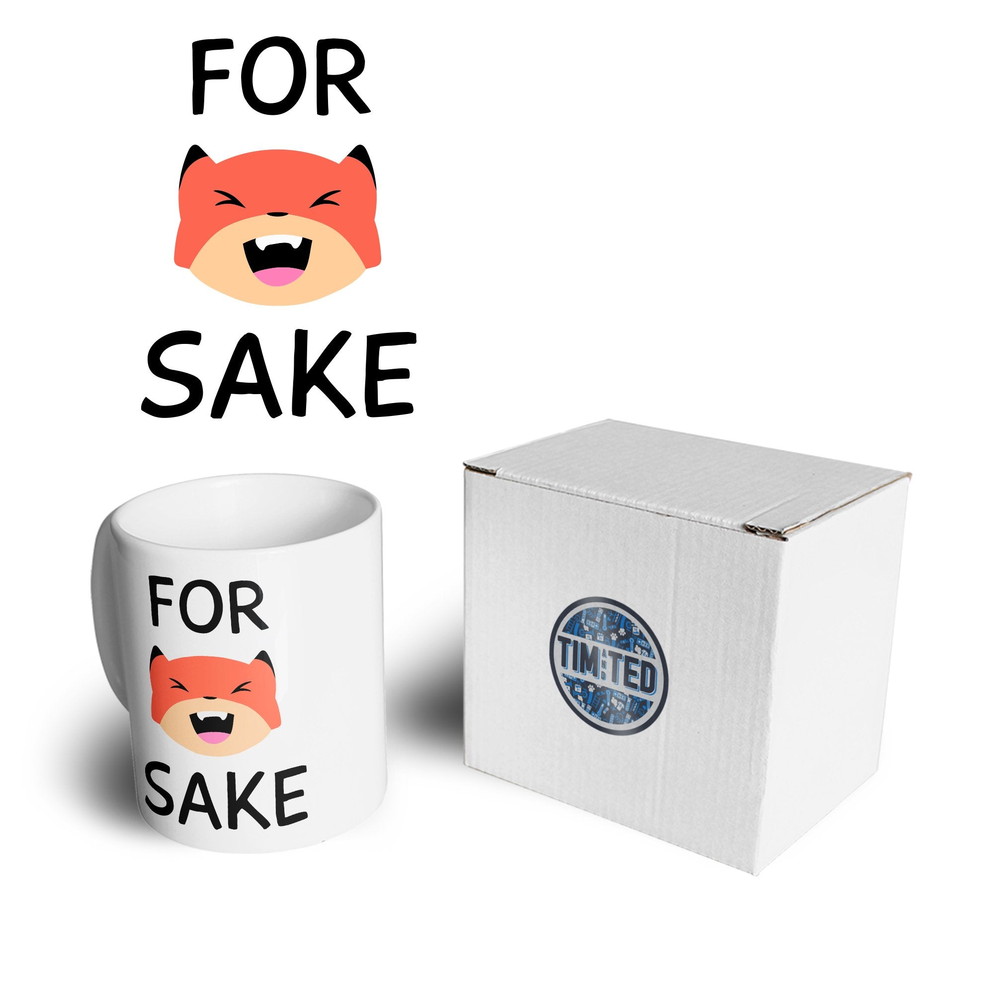 Novelty Animal Pun Mug For Fox Sake Joke Coffee Tea Cup