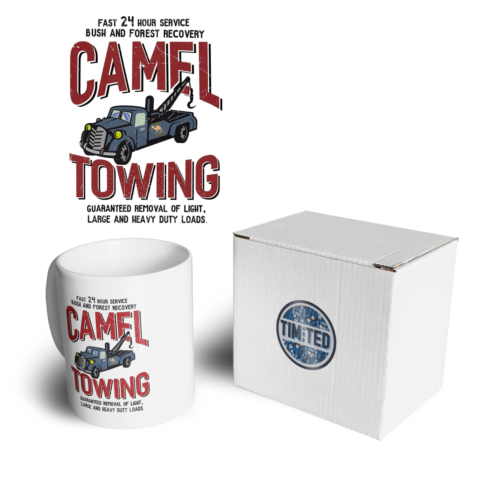 Novelty Mechanic Mug Camel Towing Car Recovery Coffee Tea Cup